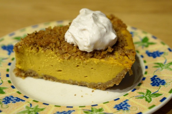 """Pumpkin"" pie (actually butternut squash) topped with So Delicious CocoWhip"